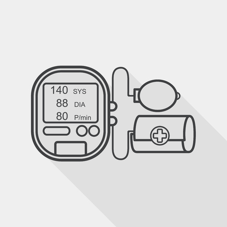 blood pressure bulb: sphygmomanometer blood pressure flat icon with long shadow, line icon