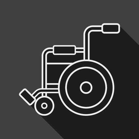 wheelchair: Wheelchair flat icon with long shadow, line icon