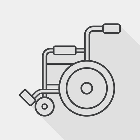 Wheelchair flat icon with long shadow, line icon