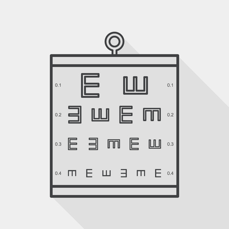eye test: eye test chart flat icon with long shadow, line icon Illustration