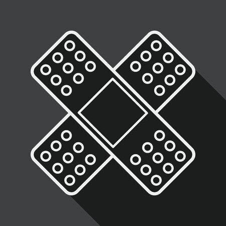 bandaging: medical bandage flat icon with long shadow, line icon