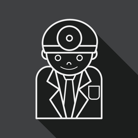 surgeon mask: medical people with stethoscopes flat icon with long shadow,eps1, line icon