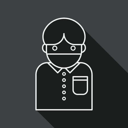 diseased: Patient flat icon with long shadow, line icon