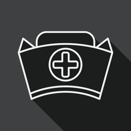 enfermera con cofia: icono plana sombrero de enfermera con larga sombra, icono l�nea