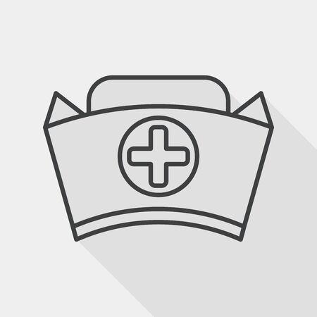 nursing clothes: nurse hat flat icon with long shadow, line icon