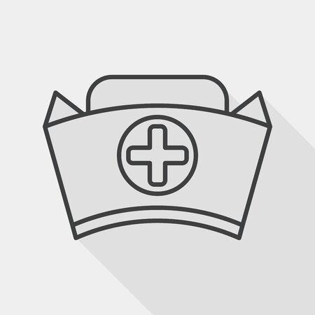 nurse hat: nurse hat flat icon with long shadow, line icon