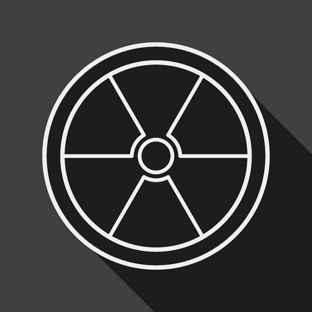 uranium: Radiation flat icon with long shadow, line icon