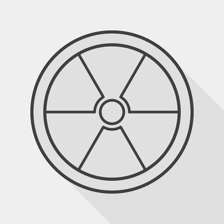nuke: Radiation flat icon with long shadow, line icon