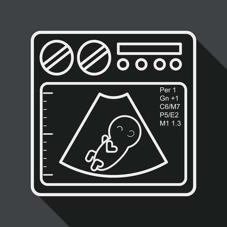 xray machine: ultrasound baby flat icon with long shadow, line icon