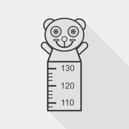 long and short scales: Height scale flat icon with long shadow, line icon Illustration
