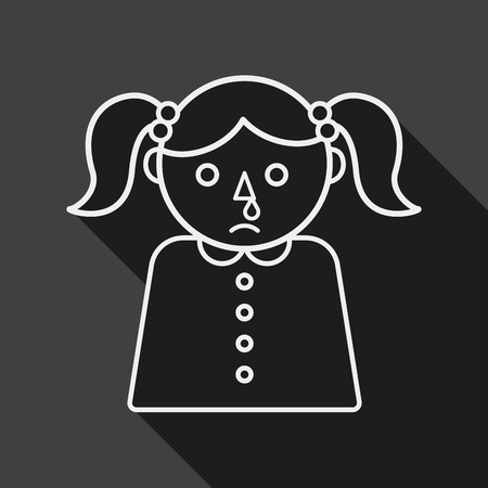 feverish: dripping nose flat icon with long shadow, line icon