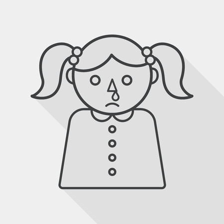 allergenic: dripping nose flat icon with long shadow, line icon