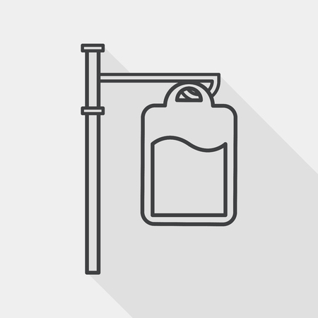 iv drip: IV bag flat icon with long shadow, line icon Illustration