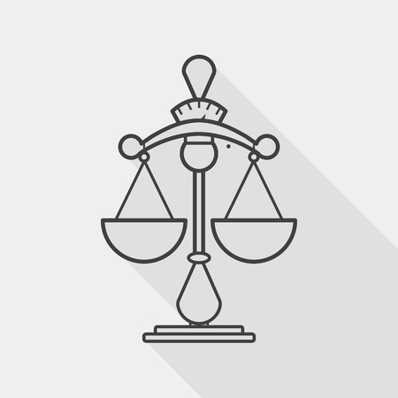 ungleichgewicht: Balance Flach Symbol mit langen Schatten, line icon