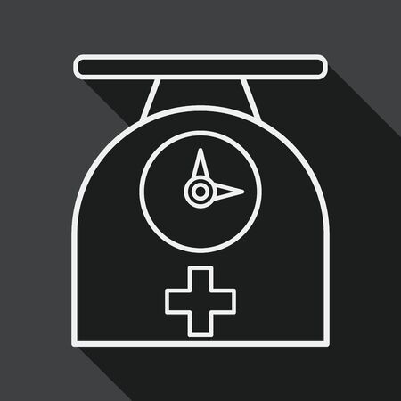 weight scales flat icon with long shadow, line icon