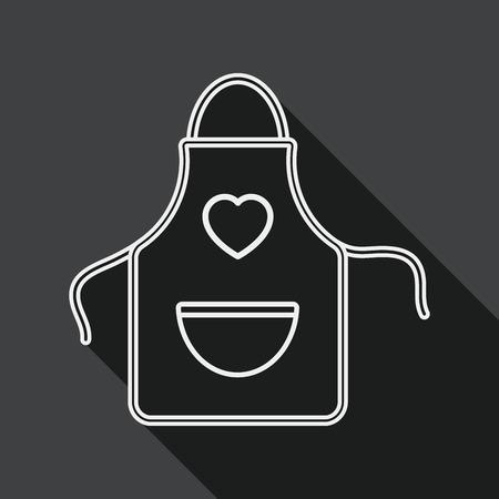 kitchenware: kitchenware apron flat icon with long shadow, line icon Illustration