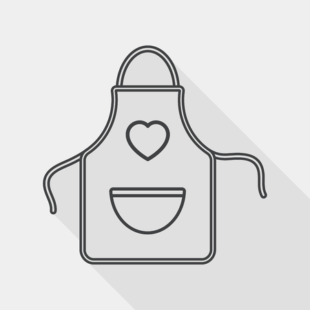 specific clothing: kitchenware apron flat icon with long shadow, line icon Illustration