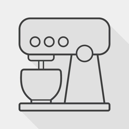 eggbeater: kitchenware electronic beater flat icon with long shadow, line icon