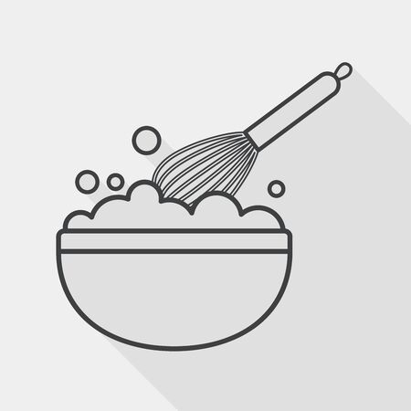 kitchenware beater flat icon with long shadow, line icon Illustration