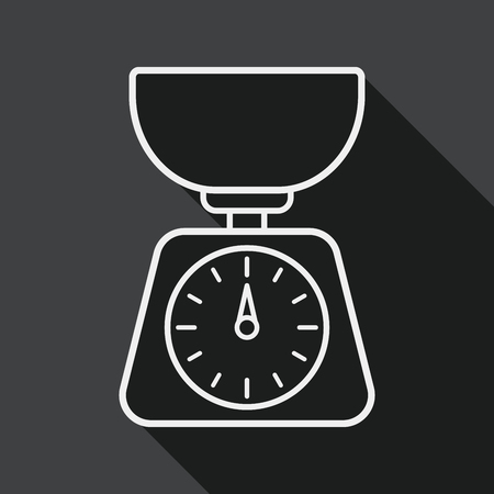 counterbalance: kitchenware weight scale flat icon with long shadow, line icon