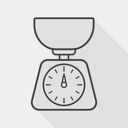 pondering: kitchenware weight scale flat icon with long shadow, line icon