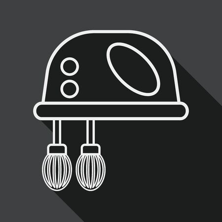 wire whisk: kitchenware electronic beater flat icon with long shadow, line icon