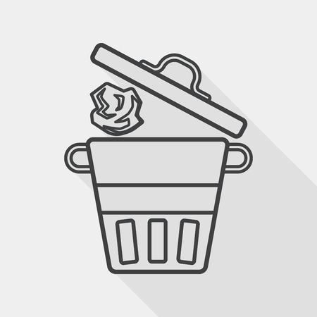 wastepaper basket: kitchenware garbage can flat icon with long shadow, line icon