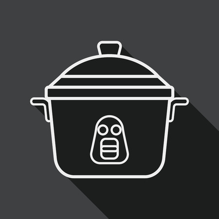 rice cooker: kitchenware rice cooker flat icon with long shadow, line icon