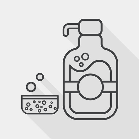 dish washing: kitchenware dish soap flat icon with long shadow, line icon
