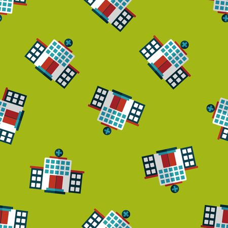 textile care symbol: building hospital flat icon seamless pattern background Illustration
