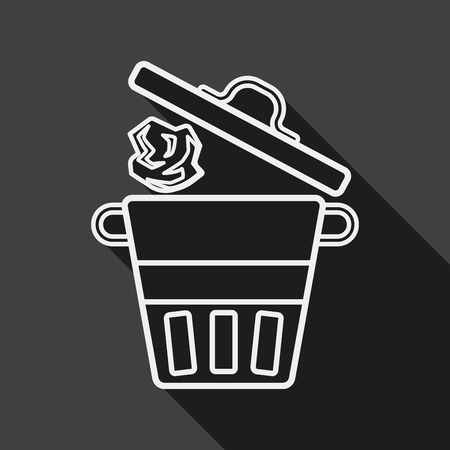 dispose: kitchenware garbage can flat icon with long shadow, line icon