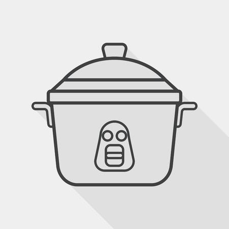 rice cooker: icono plana de cocina olla de arroz con una larga sombra, icono l�nea Vectores