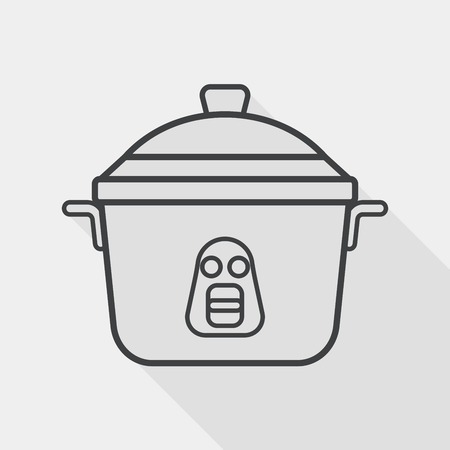 steam cooker: kitchenware rice cooker flat icon with long shadow, line icon