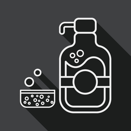 foaming: kitchenware dish soap flat icon with long shadow, line icon