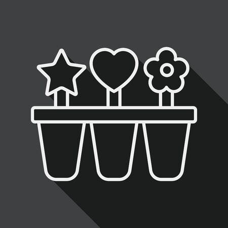 refrigerate: icono plana m�quina de hielo de cocina con una larga sombra, icono l�nea