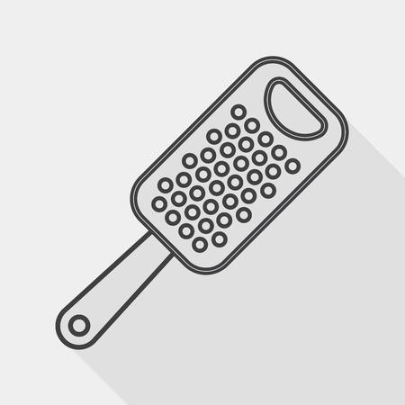reibe: Geschirr Reibe Flach Symbol mit langen Schatten, line icon
