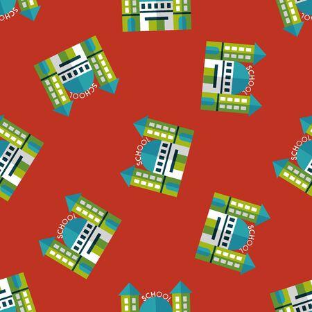 steeple: School building flat icon,eps10 seamless pattern background Illustration