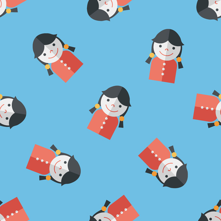 female student flat icon,eps10 seamless pattern background Vector