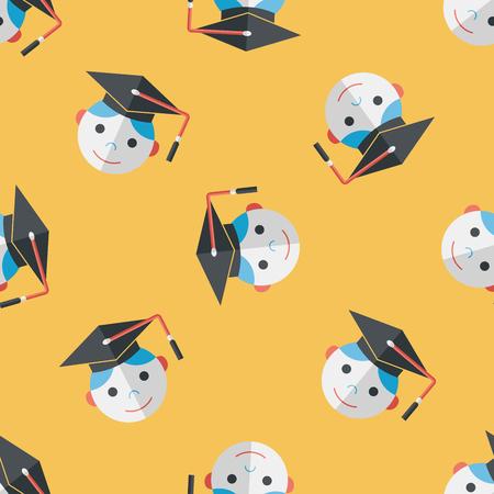 alumnus: Graduation Man flat icon seamless pattern background