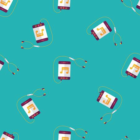 electronic organizer: smartphone and headset flat icon,eps10 seamless pattern background