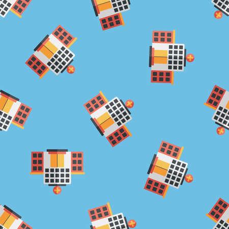 hospitalization: building hospital flat icon seamless pattern background Illustration