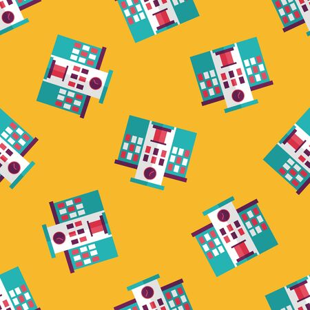highschool: Building school flat icon seamless pattern background