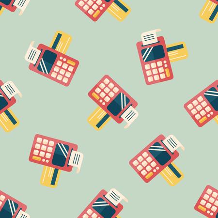cardreader: Shopping credit card machine flat icon Illustration
