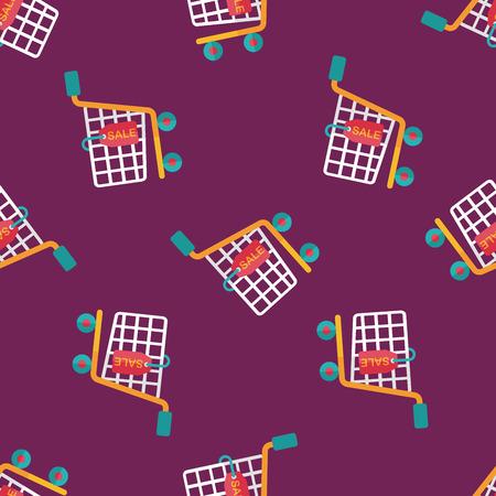 shoppingcart: shopping cart flat icon,eps10 seamless pattern background