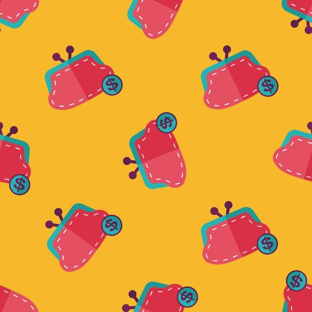 change purse: shopping change purse flat icon seamless pattern background Illustration