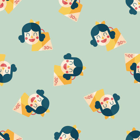 shopaholic: SALE Shopaholic flat icon,eps10 seamless pattern background Illustration