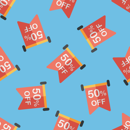 sale sign: shopping sale sign flag flat icon,eps10 seamless pattern background Illustration