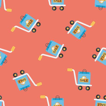 handling: shopping handling trolley flat icon,eps10 seamless pattern background