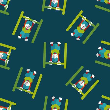 horizontal bar: Boy hanging horizontal bar flat icon seamless pattern background
