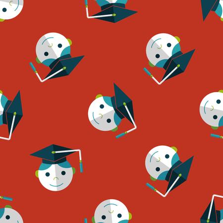 alumnus: Graduation Man flat icon,eps10 seamless pattern background Illustration